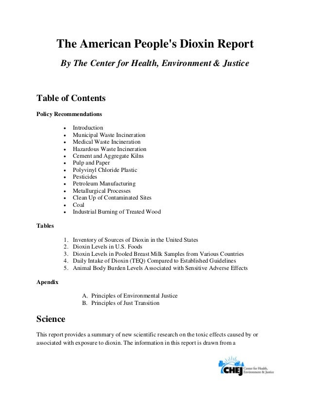 The American People's Dioxin Report By The Center for Health, Environment & Justice Table of Contents Policy Rec...