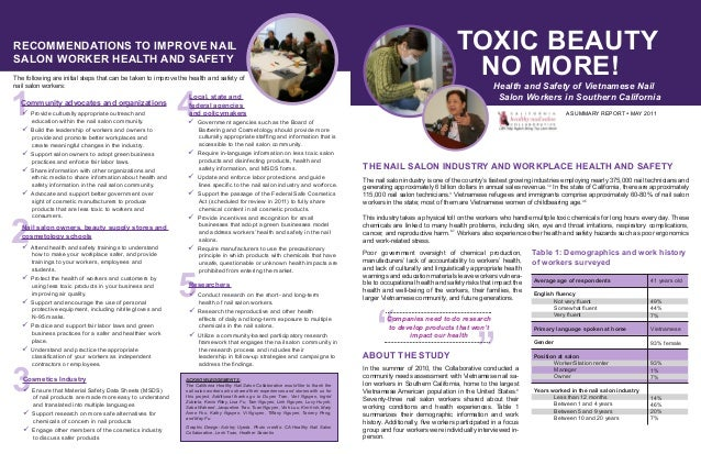 Toxic Beauty No More Health And Safety Of Vietnamese Nail Salon Wor
