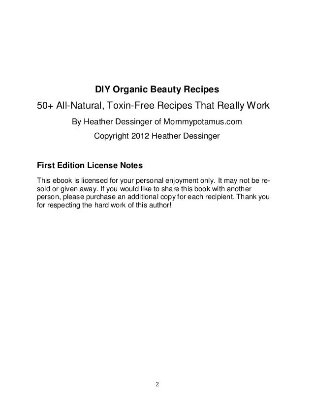 Diy Organic Beauty Recipes Ebook