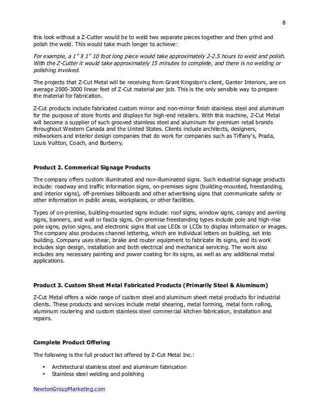 metal fabrication business plan