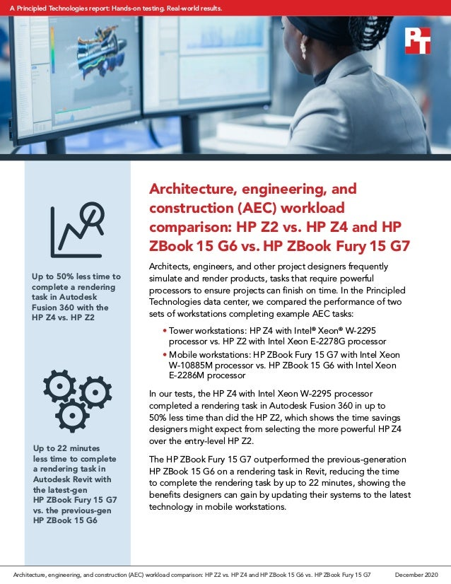 Architecture, engineering, and construction (AEC) workload comparison: HP Z2 vs. HP Z4 and HP ZBook 15 G6 vs. HP ZBook Fur...
