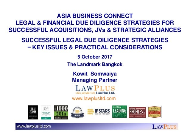 LAWPLUS ASIA BUSINESS CONNECT LEGAL & FINANCIAL DUE DILIGENCE STRATEGIES FOR SUCCESSFUL ACQUISITIONS, JVs & STRATEGIC ALLI...