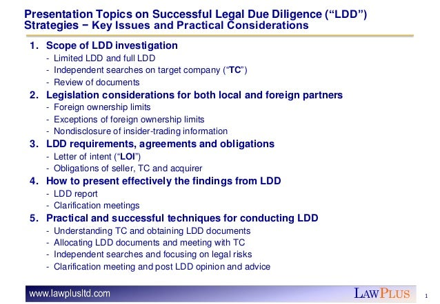 Successful Legal Due Diligence Strategies Slide 3