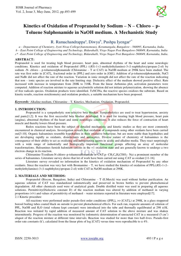 IOSR Journal of PharmacyVol. 2, Issue 3, May-June, 2012, pp.493-499       Kinetics of Oxidation of Propranolol by Sodium –...