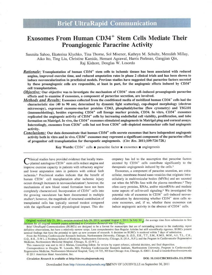 Daily Dose Equities - Exosomes from human cd34