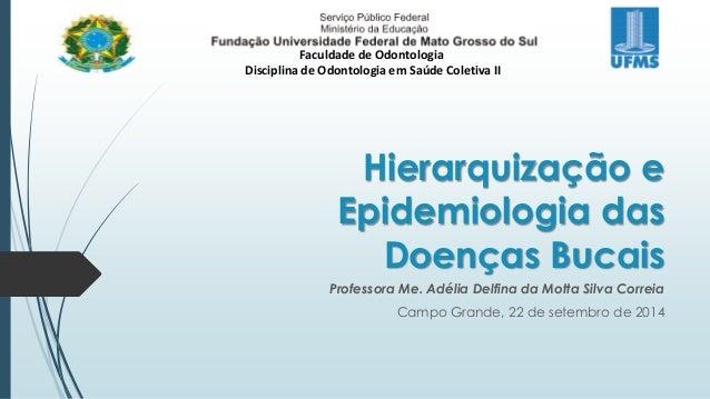 Faculdade de Odontologia  Disciplina de Odontologia em Saúde Coletiva II  Hierarquização e  Epidemiologia das  Doenças Buc...