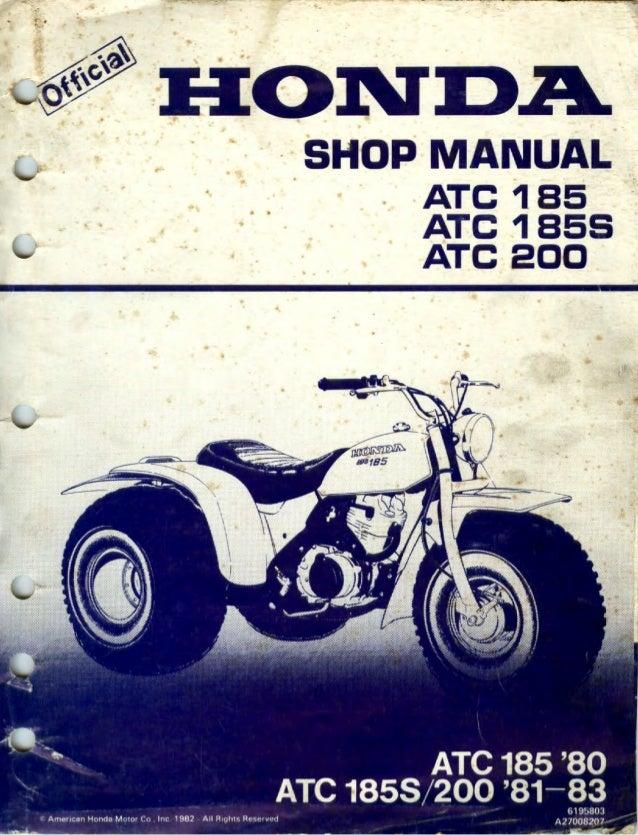 1983 Honda ATC185S 3 Wheel Service Repair Manual