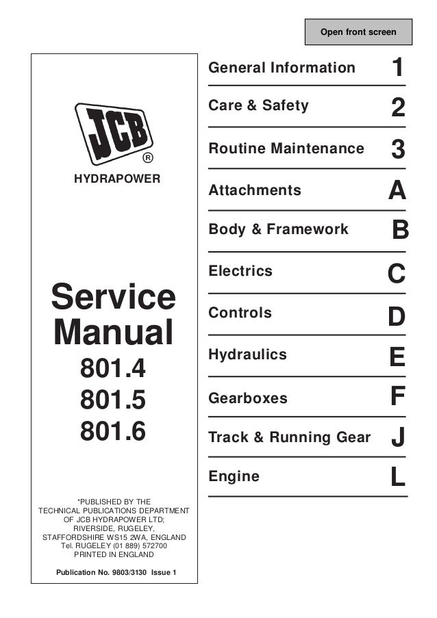 jcb 801 4 mini excavator service repair manual sn 720001 onwards rh slideshare net jcb 801 manual jcb 801 manual