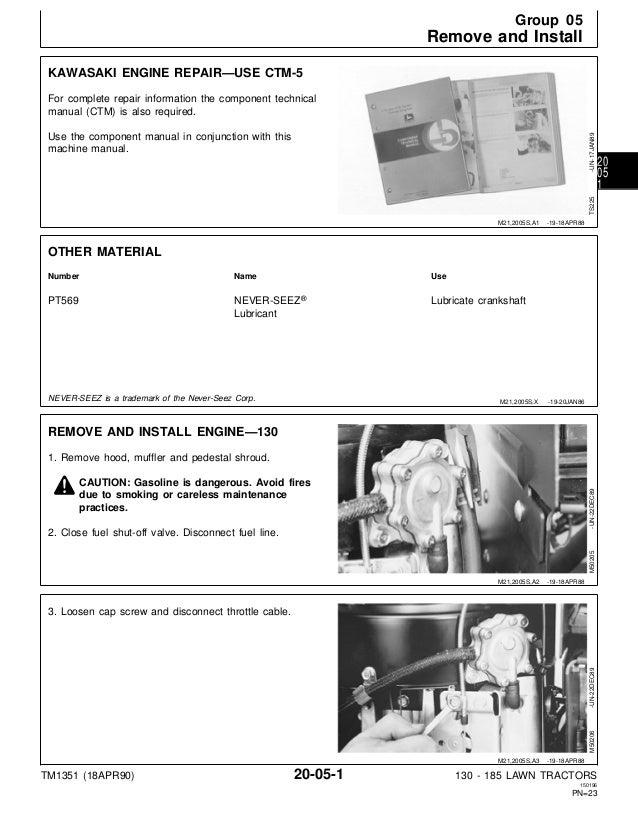 John Deere 185 Hydro Riding Lawn Mower Service Repair Manual TM1351 on CD