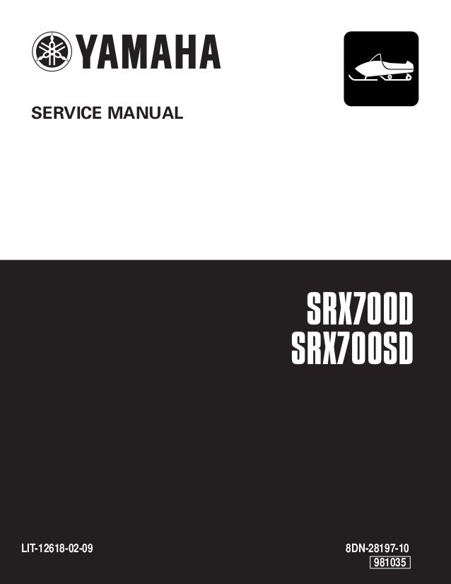 2001 Yamaha Srx700d Snowmobile Service Repair Manual