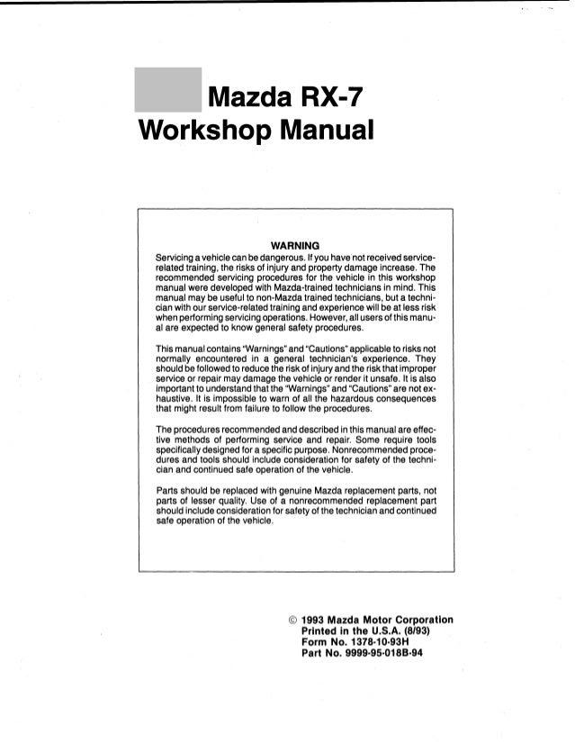 1995 Mazda Rx7 Service Repair Manual