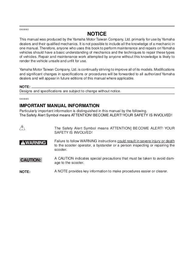 2009 yamaha vino 125 service repair manual rh slideshare net 2007 yamaha vino 125 service manual yamaha vino 125 service manual pdf