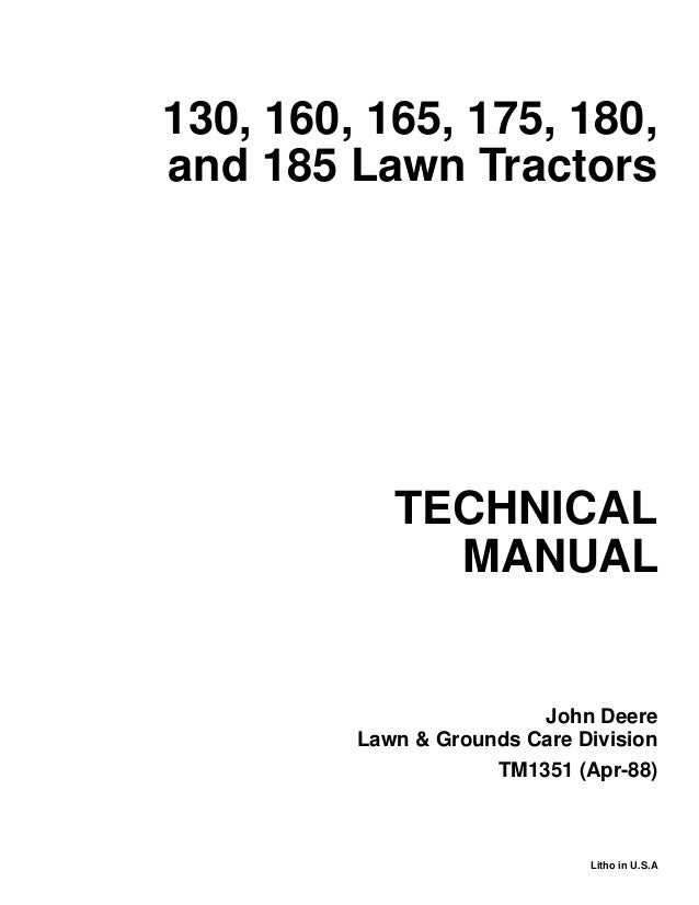 JOHN DEERE 165 LAWN GARDEN TRACTOR Service Repair Manual on