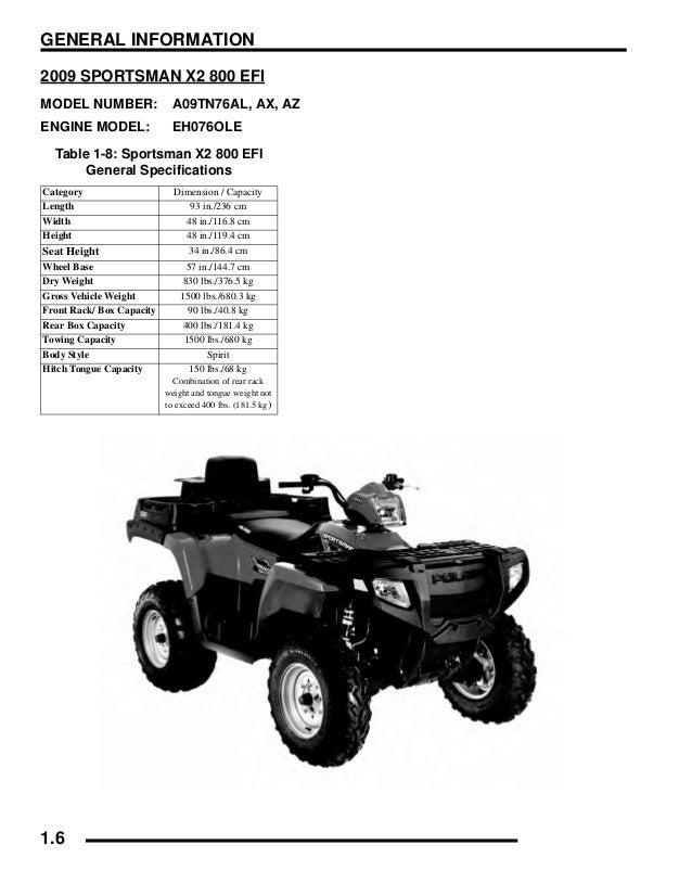 2009 Polaris Sportsman 800 HO EFI Service Repair Manual