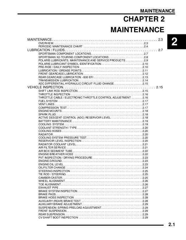 2009 Polaris Sportsman X2 800 EFI Service Repair Manual