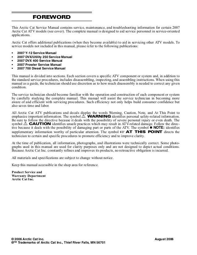2007 Arctic Cat 400 4X4 ATV Service Repair Manual on