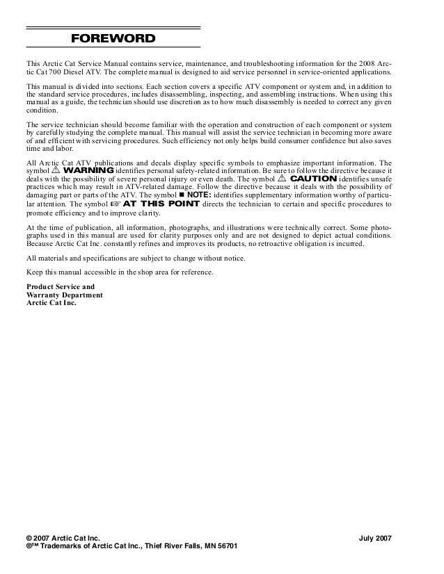2008 Arctic Cat 700 Diesel Service Repair Manual