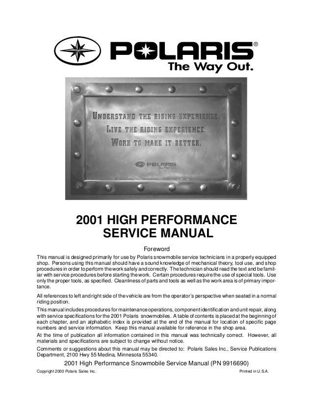 2001 Polaris 600 Rmk Snowmobile Service Repair Manual