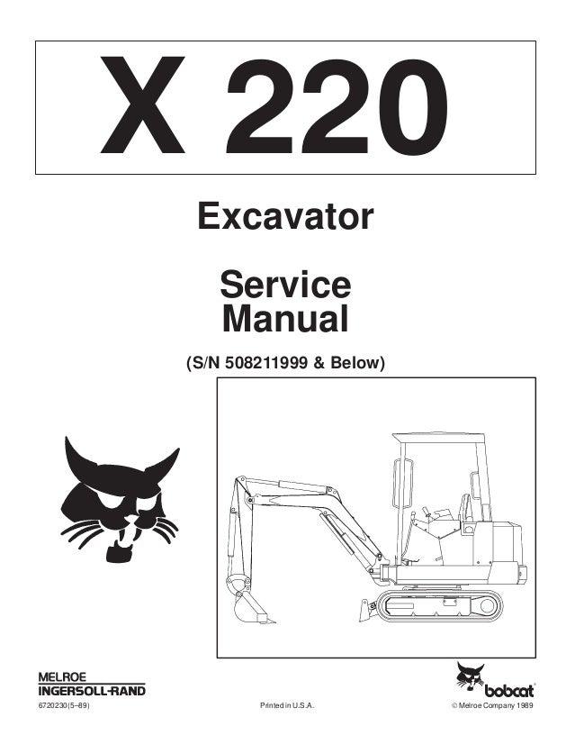 BOBCAT 220 MINI EXCAVATOR Service Repair Manual S/N