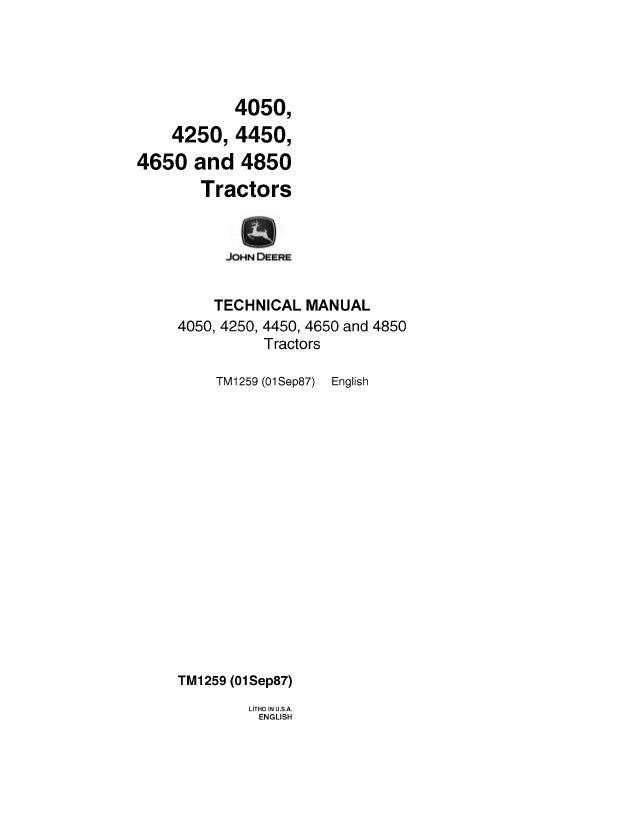JOHN DEERE 4850 TRACTOR Service Repair ManualSlideShare