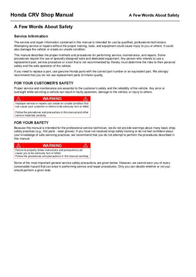 2006 honda crv service repair manual