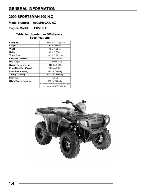 2009 Polaris Sportsman 500 EFI Service Repair Manual on