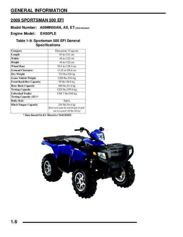 2009 Polaris Sportsman 500 EFI Service Repair Manual