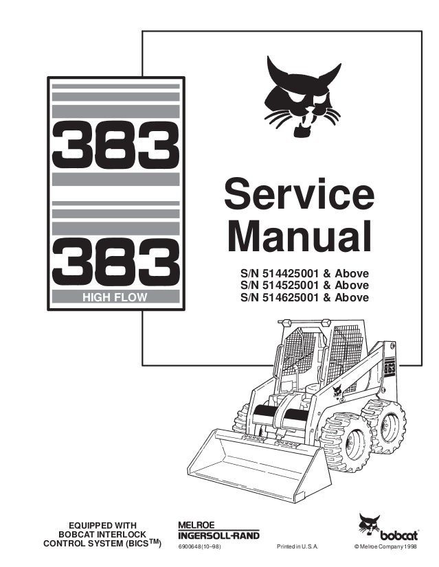 BOBCAT 863 SKID STEER LOADER Service Repair Manual S/N