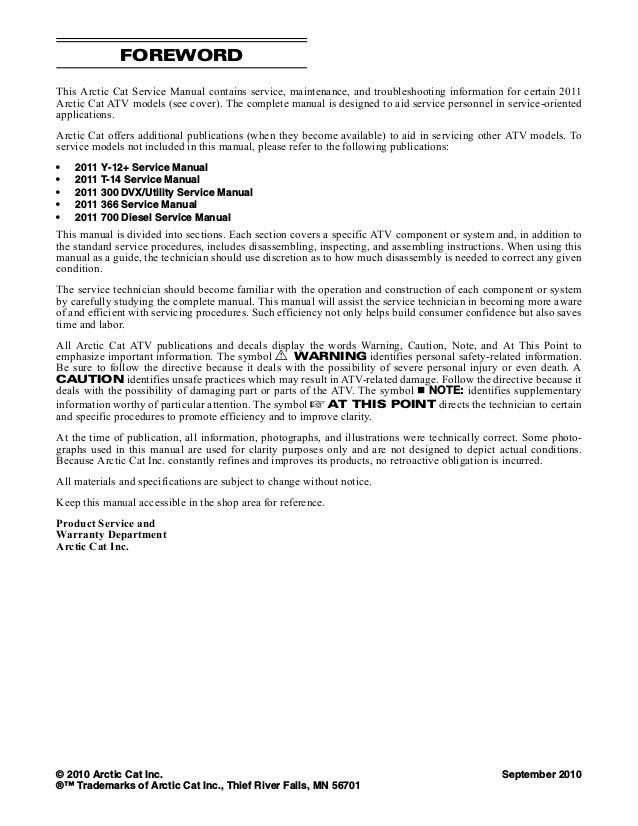 2011 Arctic Cat 700 Atv Service Repair Manual