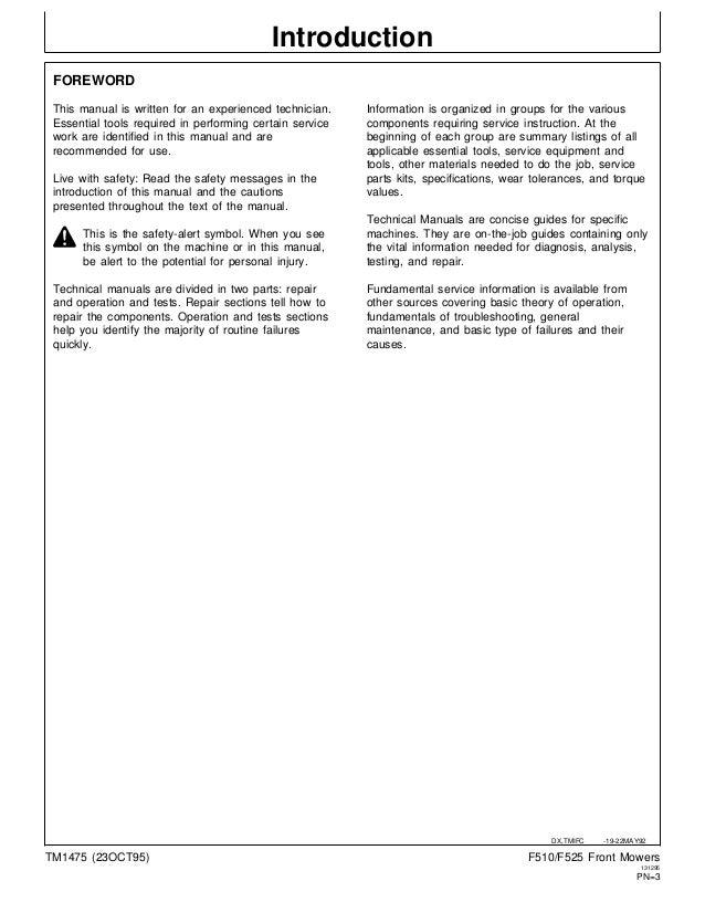 john deere f525 residential front mower service repair manual rh slideshare net F525 Hood F525 Snowblower