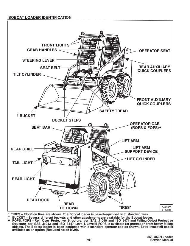 Bobcat 853 Skid Steer Loader Service Repair Manual S  N