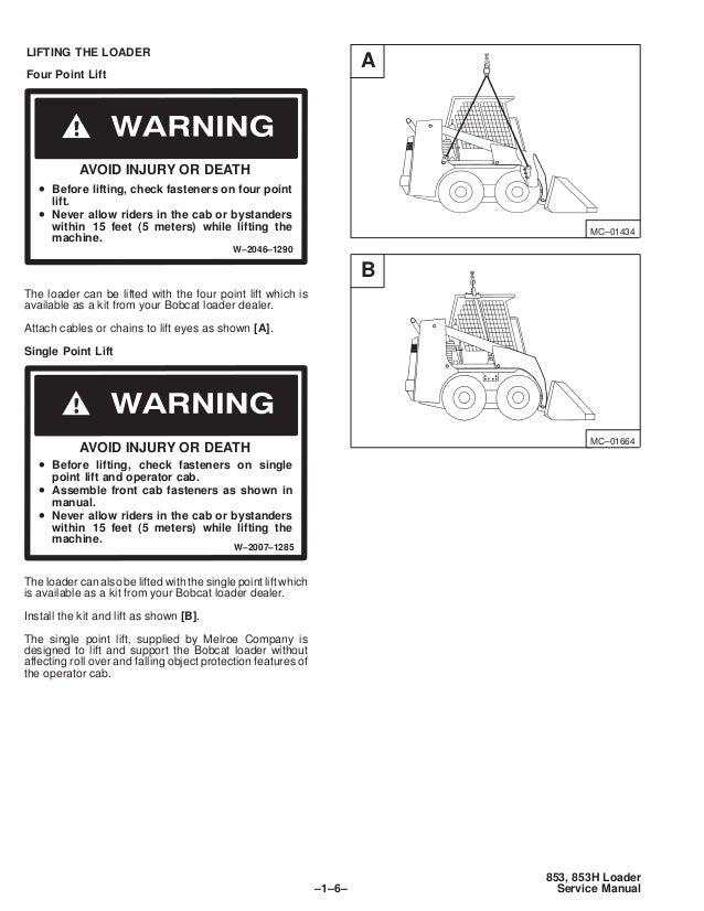 Free Bobcat 853 service Manual