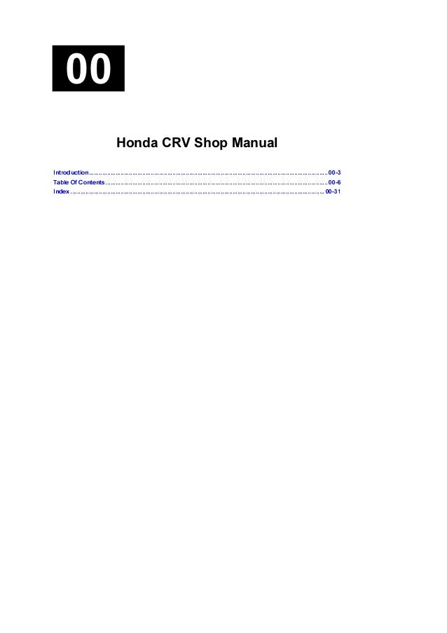 2005 Honda Crv Service Repair Manual