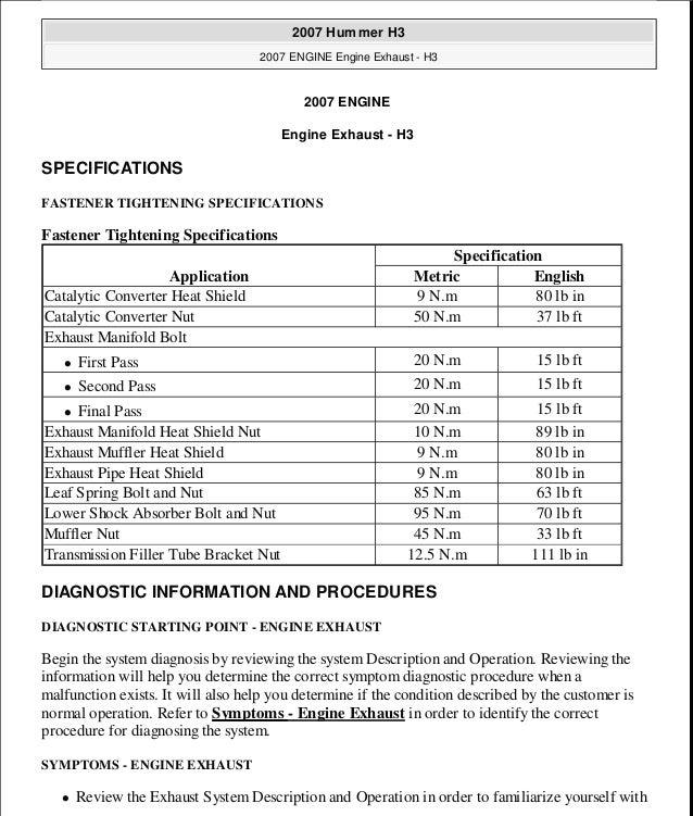 HUMMER H3 2006 Service Repair Manual
