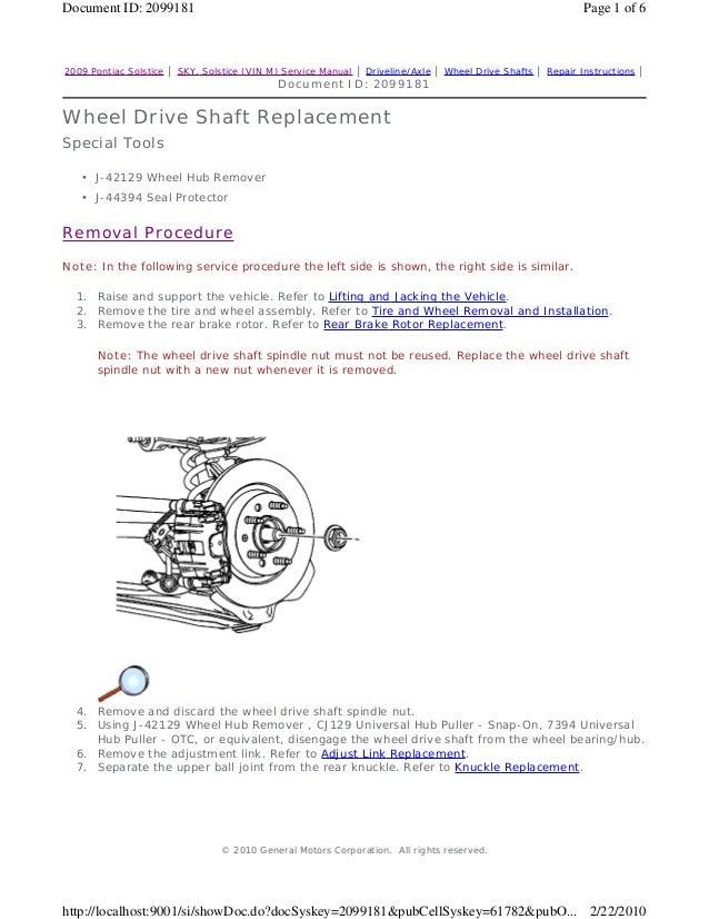 2009 pontiac solstice service repair manual rh slideshare net Service ManualsOnline 2006 solstice service manual