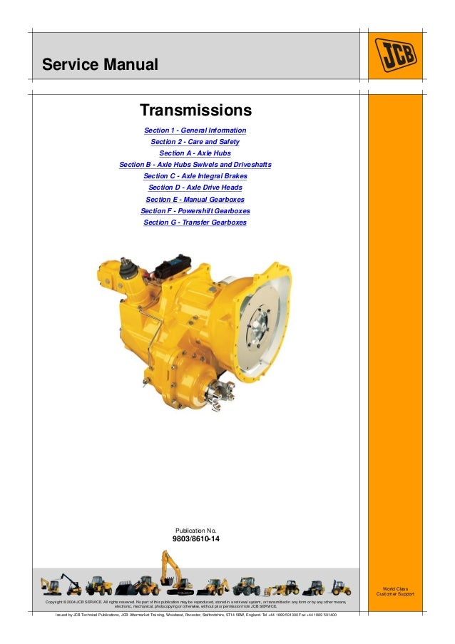 JCB TRANSMISSION Service Repair Manual on