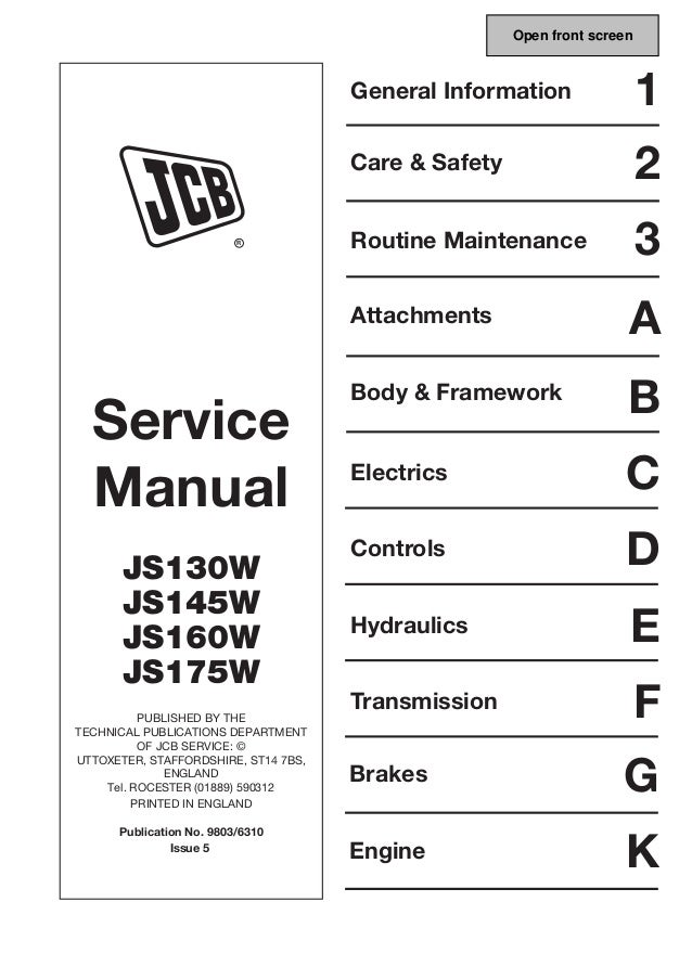 jcb js145w wheeled excavator service repair manual sn 816000 onwards rh slideshare net John Deere Excavators jcb excavator service manual pdf