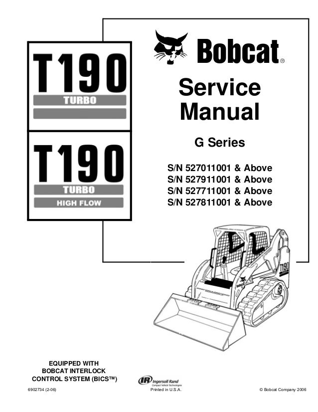 BOBCAT T190 COMPACT TRACK LOADER Service Repair Manual S/N