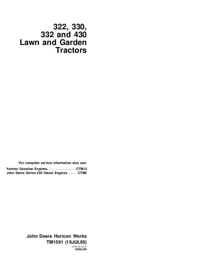 john deere 430 lawn garden tractor service repair manualJohn Deere 332 Alternator Wiring Diagram #16