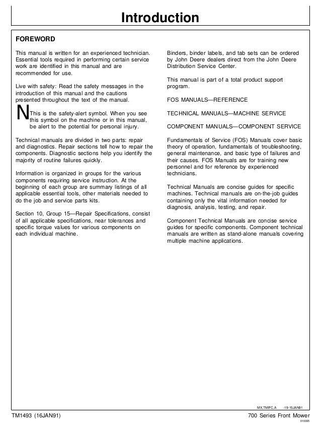 John Deere Rx73 Wiring Diagram : John deere f front mower service repair manual