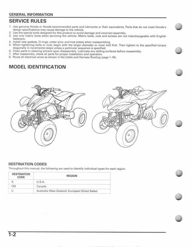2006 Honda TRX400EX Sportrax Service Repair Manual