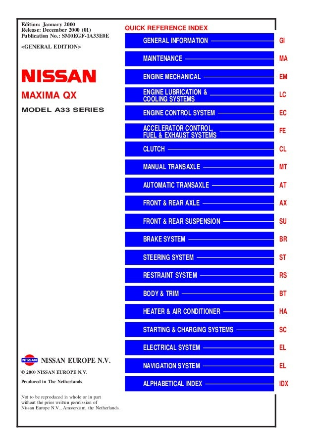 2000 Nissan Maxima Qx Service Repair Manual