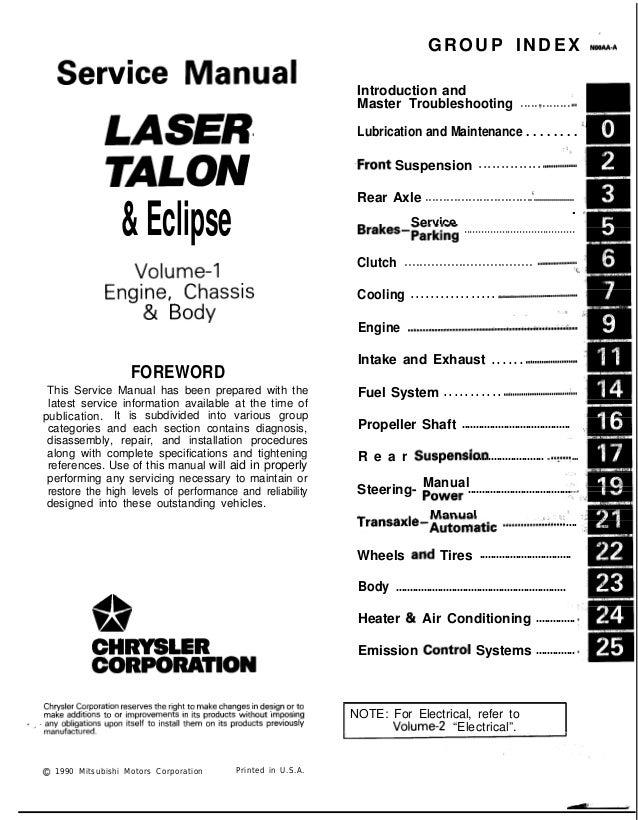 1997 Mitsubishi Eclipse Laser Talon Service Repair Manual