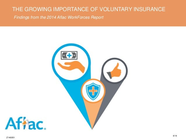 THE GROWING IMPORTANCE OF VOLUNTARY INSURANCE Findings from the 2014 Aflac WorkForces Report Z140351 4/14