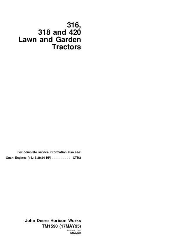 John Deere 316 Lawn Garden Tractor Service Repair Manualrhslideshare: 316 Onan Wiring Diagram Voltage Regulator At Gmaili.net