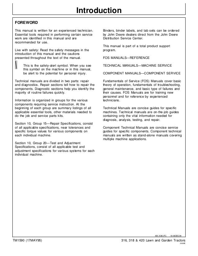 john deere 318 lawn garden tractor service repair manual