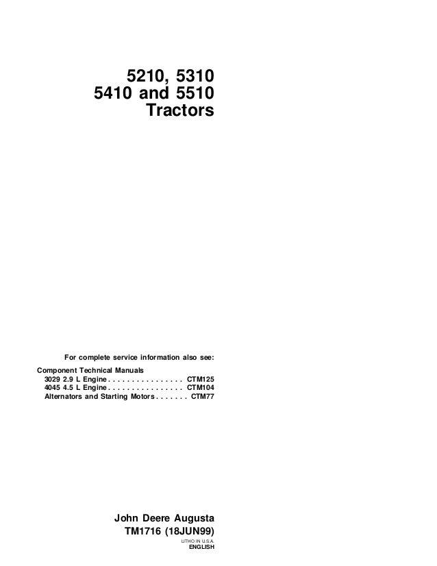 John Deere 5310 Tractor Service Repair Manual