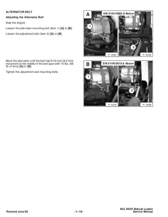 BOBCAT 863 SKID STEER LOADER Service Repair Manual S/N