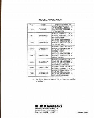 1999 Kawasaki ZX1100D7 Ninja ZX-11 Service Repair Manual