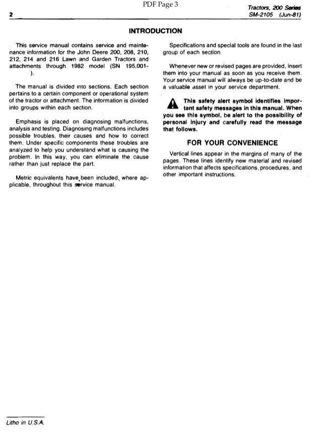 John Deere 214 >> JOHN DEERE 200 LAWN AND GARDEN TRACTOR Service Repair Manual